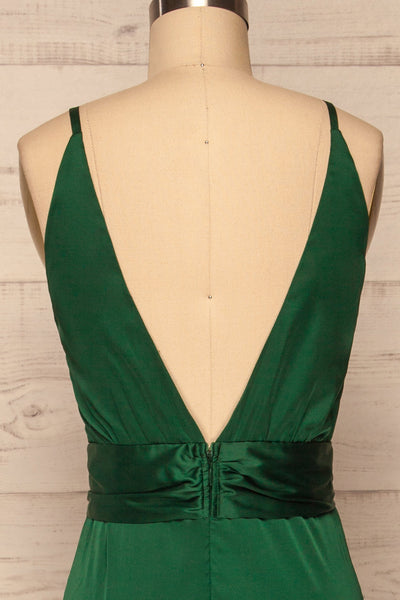 Roksem Vert Forest Green Satin A-Line Gown | La Petite Garçonne back close-up