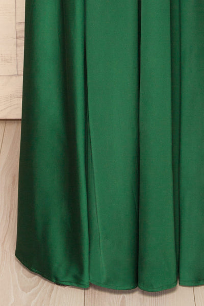 Roksem Vert Forest Green Satin A-Line Gown | La Petite Garçonne bottom close-up