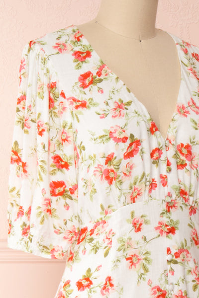 Romera White Floral Short Sleeve Midi Dress | Boutique 1861 side close-up