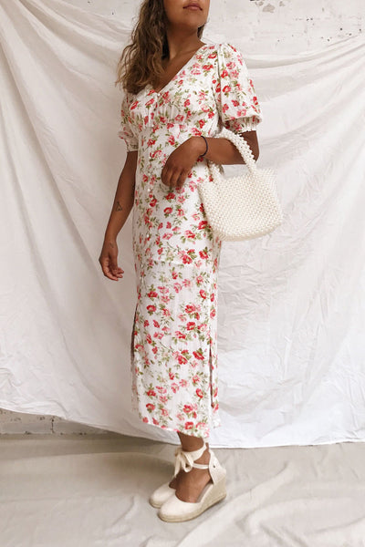 Romera White Floral Short Sleeve Midi Dress | Boutique 1861 model look