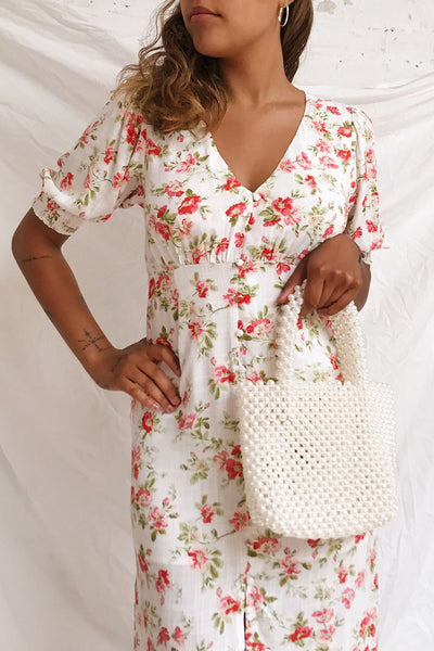 Romera White Floral Short Sleeve Midi Dress | Boutique 1861 on model