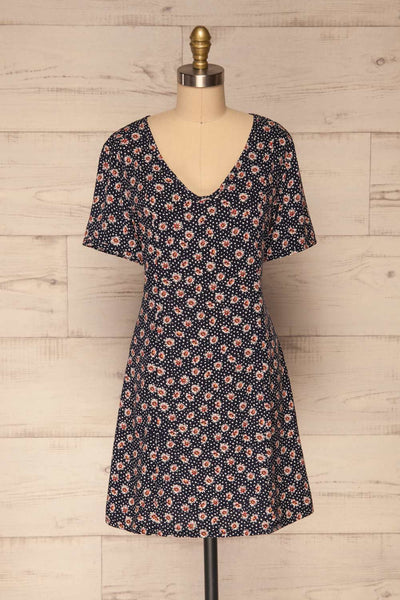 Romya Navy Blue Floral Short Dress | La petite garçonne front view