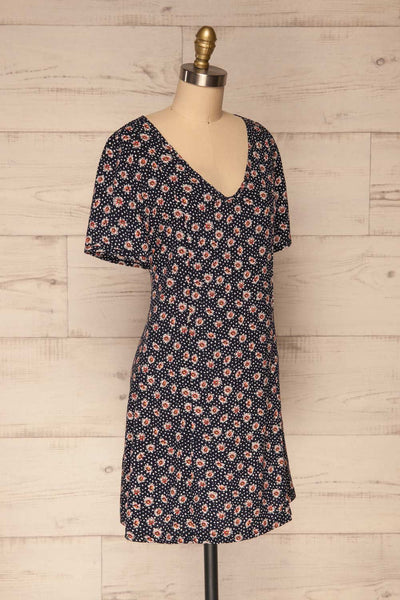 Romya Navy Blue Floral Short Dress | La petite garçonne side view