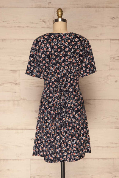 Romya Navy Blue Floral Short Dress | La petite garçonne back view