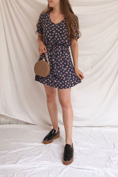 Romya Navy Blue Floral Short Dress | La petite garçonne model look