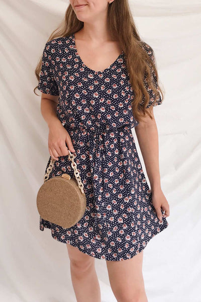 Romya Navy Blue Floral Short Dress | La petite garçonne on model
