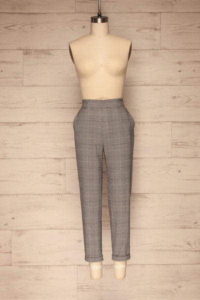 Ronhee Grey Plaid Straight Leg Pants | La petite garçonne front view