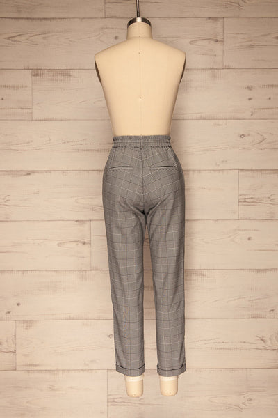 Ronhee Grey Plaid Straight Leg Pants | La petite garçonne back view