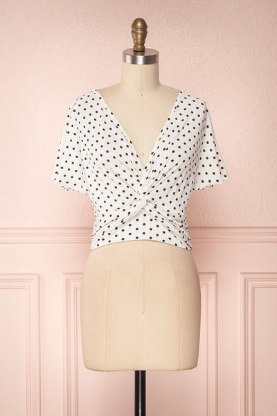 Ronit White & Black Polkadot Tied Crop Top | Boutique 1861