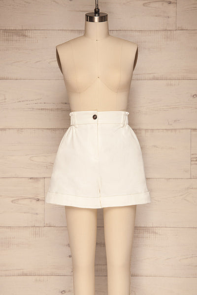 Ropsha White Cotton High-Waisted Shorts front view | La petite garçonne