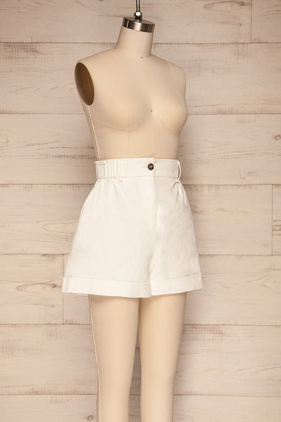 Ropsha White Cotton High-Waisted Shorts side view | La petite garçonne