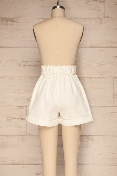 Ropsha White Cotton High-Waisted Shorts back view | La petite garçonne