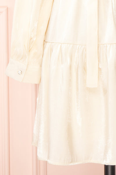 Rosamond White Sparkling Midi Dress | Boutique 1861 sleeve