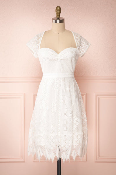 Rosary White Short Lace Bridal Dress | Boudoir 1861