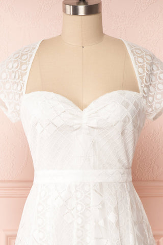 Rosary White Short Lace Bridal Dress front close up | Boudoir 1861