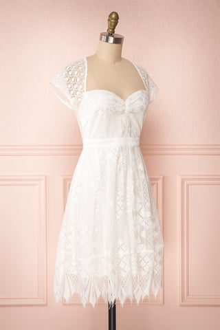 Rosary White Short Lace Bridal Dress side view | Boudoir 1861