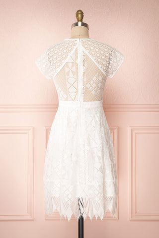 Rosary White Short Lace Bridal Dress back view | Boudoir 1861