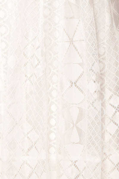 Rosary White Short Lace Bridal Dress fabric close up | Boudoir 1861