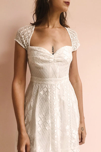 Rosary White Short Lace Bridal Dress | Boudoir 1861 model close up
