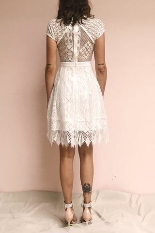 Rosary White Short Lace Bridal Dress | Boudoir 1861 model back