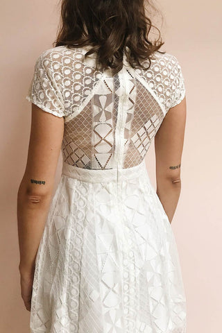 Rosary White Short Lace Bridal Dress | Boudoir 1861 model back close up