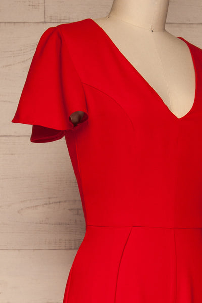 Rosenheim Red Jumpsuit | Combinaison | La Petite Garçonne side close-up