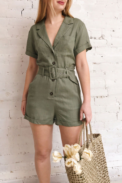 Rostock Khaki Green Short Sleeve Romper | La petite garçonne on model