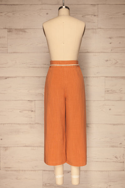 Rotello Orange High-Waisted Cropped Pants | La petite garçonne back view