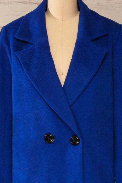 Roubaix Blue Straight Double-Breasted Coat | La petite garçonne front close-up