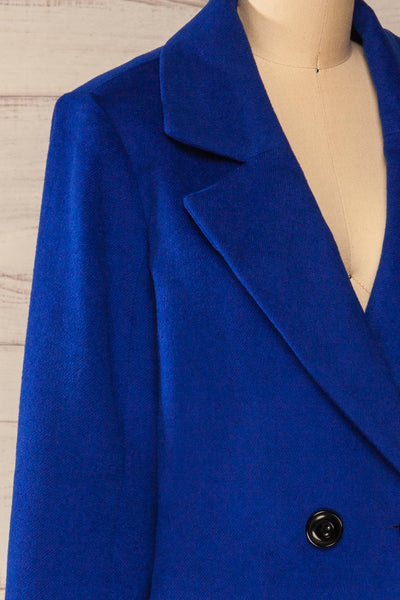 Roubaix Blue Straight Double-Breasted Coat | La petite garçonne side close-up