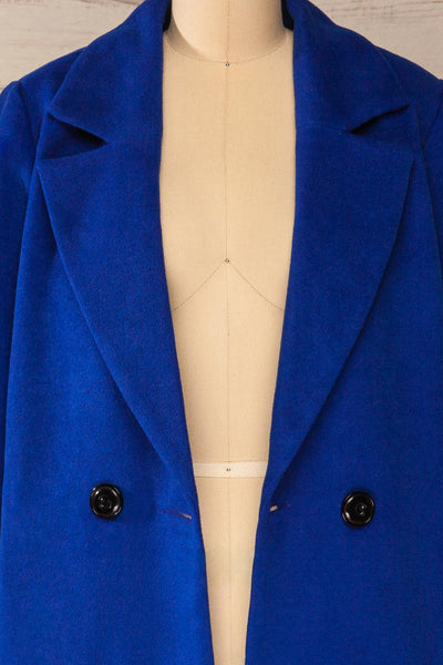 Roubaix Blue Straight Double-Breasted Coat | La petite garçonne open close-up