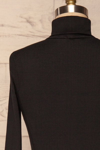 Roust Black Cotton Ribbed Turtleneck Top back close up | La Petite Garçonne