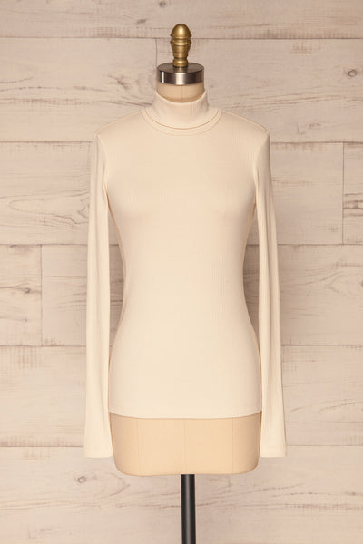 Roust Cream Cotton Ribbed Turtleneck Top front view | La Petite Garçonne