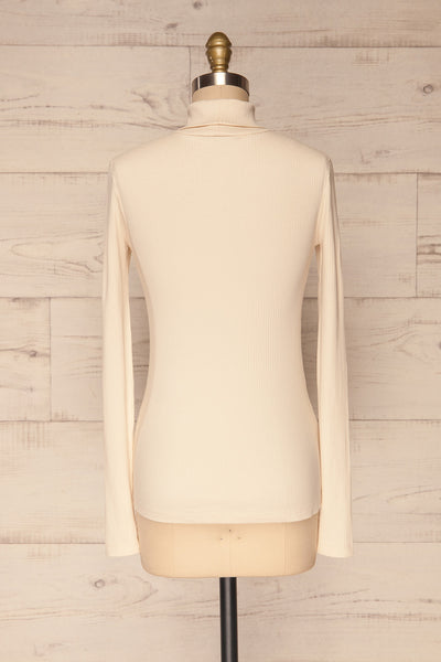 Roust Cream Cotton Ribbed Turtleneck Top back view | La Petite Garçonne