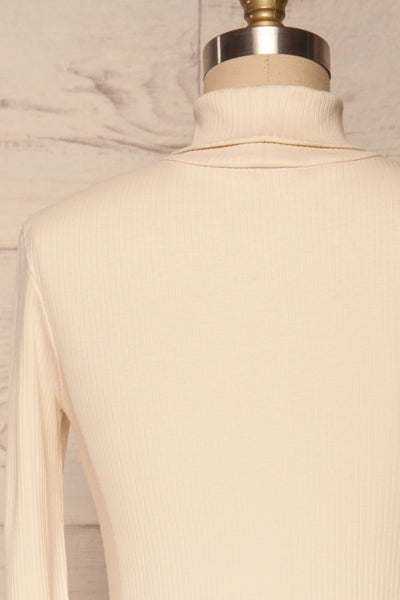 Roust Cream Cotton Ribbed Turtleneck Top back close up | La Petite Garçonne