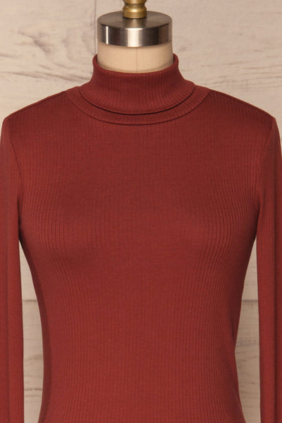 Roust Rust Cotton Ribbed Turtleneck Top front close up | La Petite Garçonne
