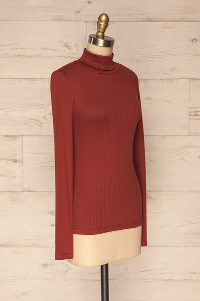 Roust Rust Cotton Ribbed Turtleneck Top side view | La Petite Garçonne