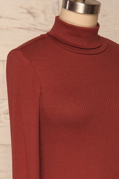 Roust Rust Cotton Ribbed Turtleneck Top side close up | La Petite Garçonne