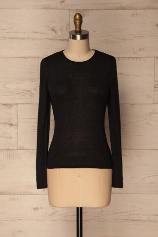 Rozan Black Long Sleeves Glitter Knit Top | La Petite Garçonne