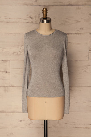 Rozan Grey Long Sleeves Glitter Knit Top | La Petite Garçonne