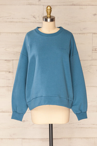 Ruby Crewneck Blue Oversized Sweater | La petite garçonne front view