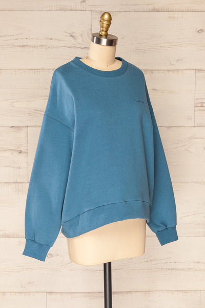 Ruby Crewneck Blue Oversized Sweater | La petite garçonne side view