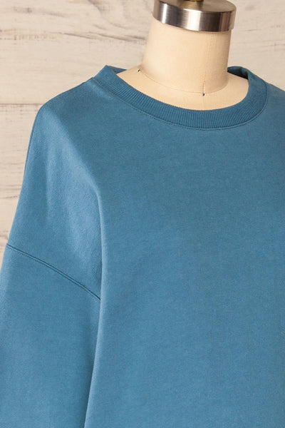 Ruby Crewneck Blue Oversized Sweater | La petite garçonne side close up