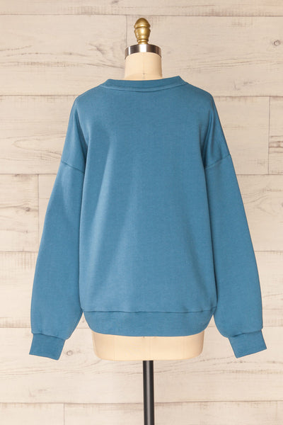 Ruby Crewneck Blue Oversized Sweater | La petite garçonne back view