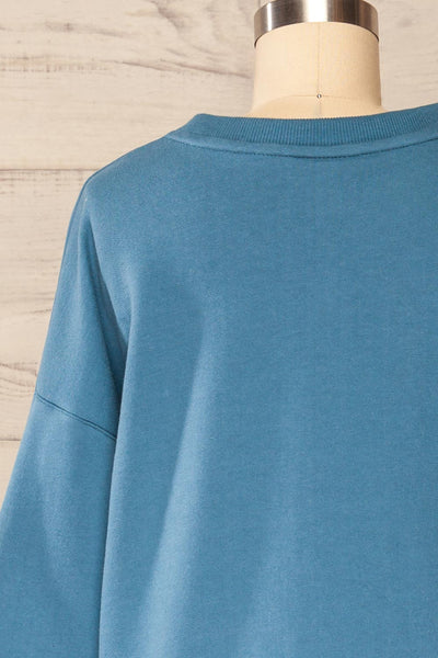 Ruby Crewneck Blue Oversized Sweater | La petite garçonne back close up