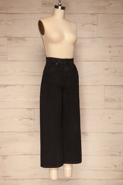 Rucka Black High-Waisted Flare Jeans side view | La petite garçonne