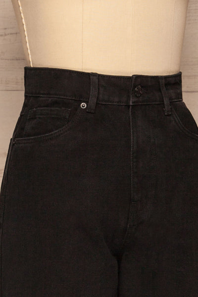 Rucka Black High-Waisted Flare Jeans side close up | La petite garçonne