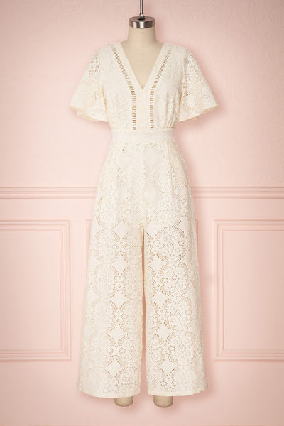 Rumaira Cream Lace Jumpsuit with Plunging Neckline | Boutique 1861