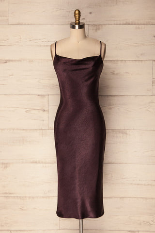 Ruzic Purple Satin Fitted Midi Dress | La Petite Garçonne