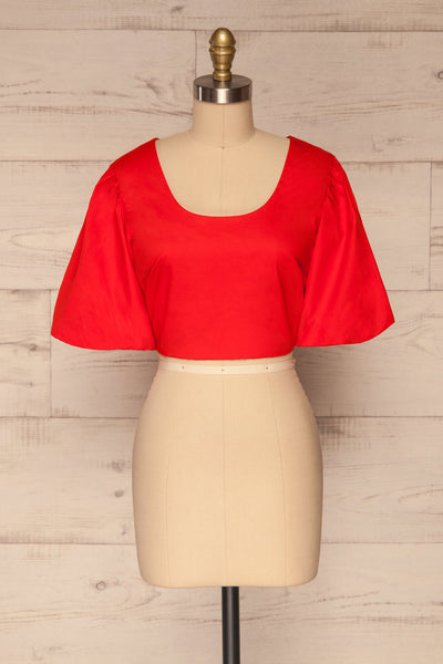 Rydzyna Red Short-Sleeved Crop Top | La petite garçonne front view